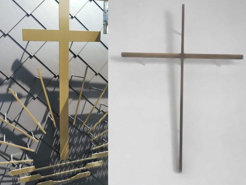 Kreuz pulverbeschichtet, Kreuz Messing brüniert